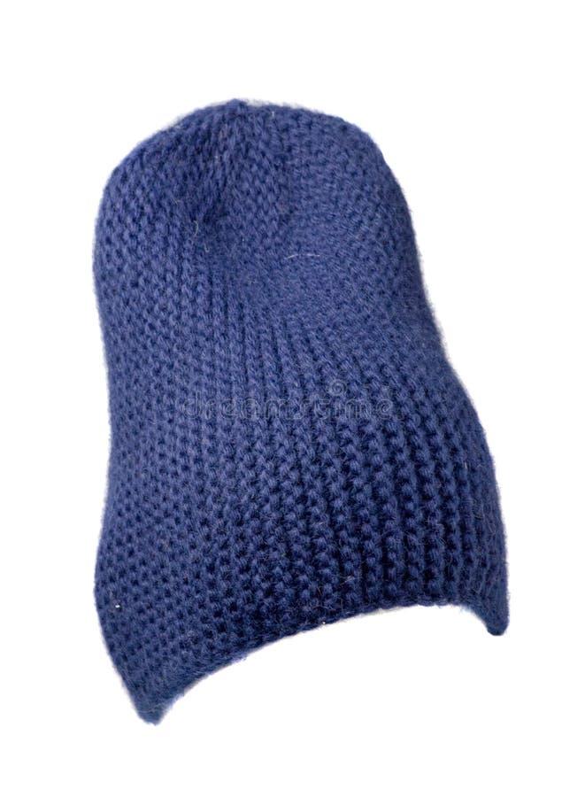 Cappello del ` s delle donne Cappello tricottato isolato su fondo bianco ha blu immagini stock