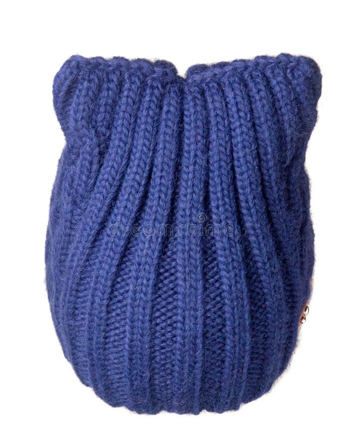 Cappello del ` s delle donne Cappello tricottato isolato su fondo bianco ha blu immagine stock
