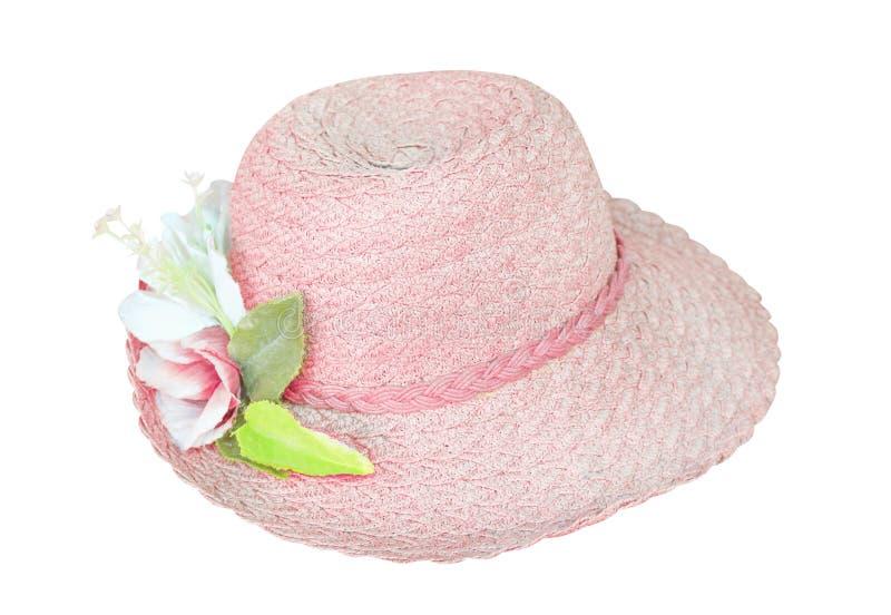 Cappello della donna con l'inflorescenza dei modelli di fiore del tessuto isolati su fondo bianco immagini stock libere da diritti