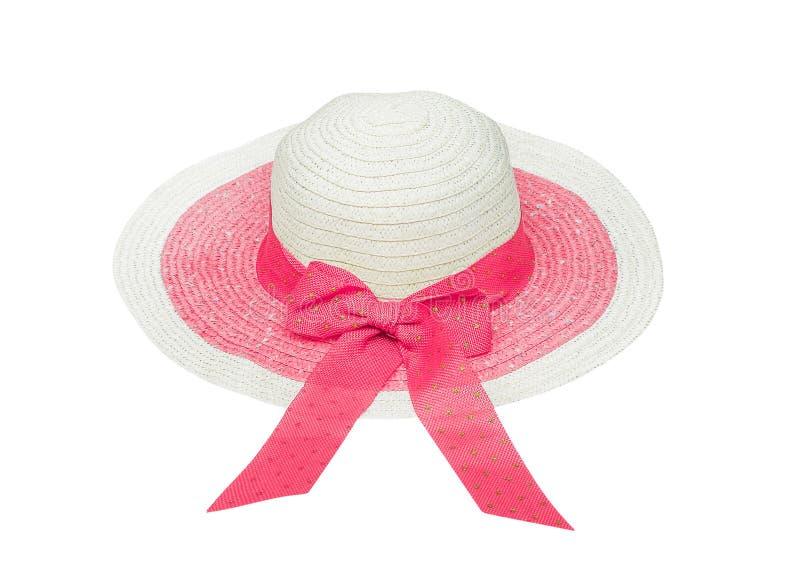 Cappello della donna della paglia con l'arco rosa variopinto isolato su fondo bianco, percorso di ritaglio immagine stock