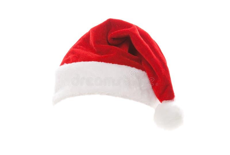 Cappello della Santa isolato su priorit? bassa bianca Feste felici di natale Cappello di Santa allo studio Natale, natale, invern fotografia stock libera da diritti