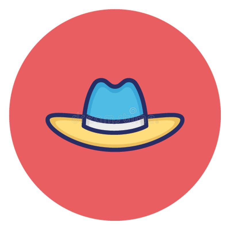 Cappello della spiaggia, icona di vettore del cappuccio che può pubblicare facilmente royalty illustrazione gratis