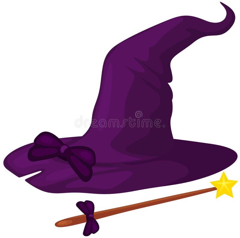 Cappello della strega con la canna royalty illustrazione gratis