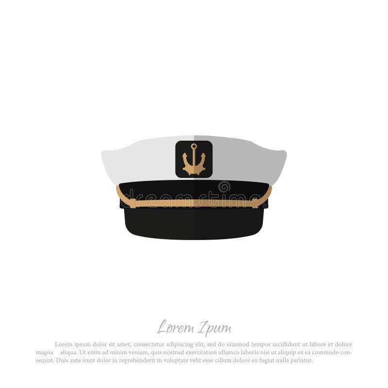 Cappello di capitano su un fondo bianco Icona del cappuccio di marinaio nello stile piano illustrazione vettoriale