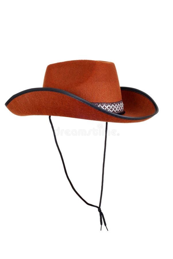 Cappello di cowboy isolato con la cinghia fotografia stock