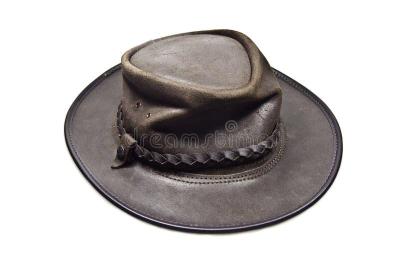Cappello di cuoio australiano isolato fotografia stock libera da diritti