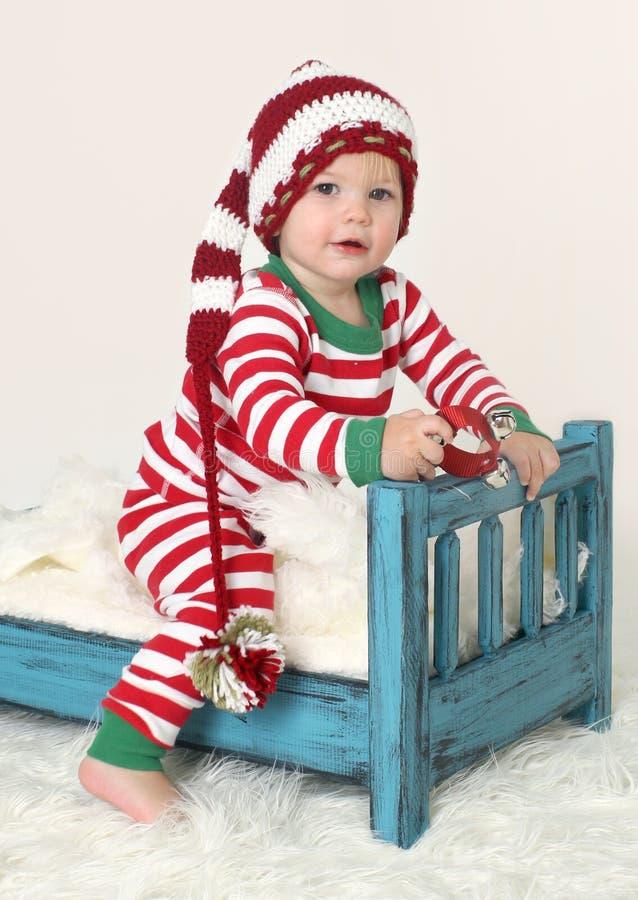 Cappello di Elf dell'attrezzatura di Natale del bambino fotografia stock