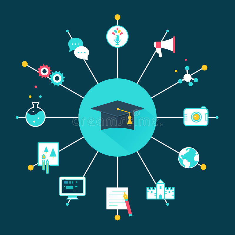 Cappello di graduazione circondato dalle icone di istruzione Scelta del concetto di corso, di carriera o di occupazione royalty illustrazione gratis