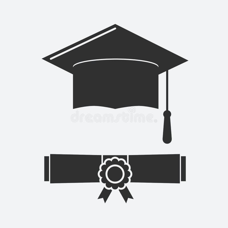 Cappello di graduazione della siluetta e diploma rotolato illustrazione di stock