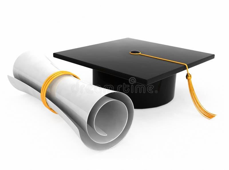 Cappello di graduazione su priorità bassa bianca illustrazione vettoriale