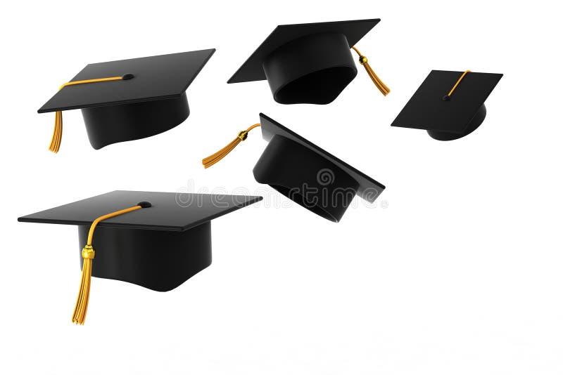 Cappello di graduazione su priorità bassa bianca illustrazione di stock