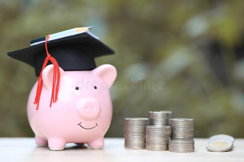 Cappello di graduazione sul porcellino salvadanaio blu con la pila di soldi delle monete sul fondo di verde della natura, soldi d fotografia stock
