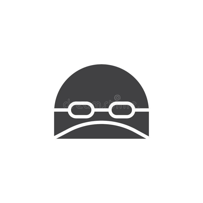 Cappello di nuoto ed icona di vettore di vetro illustrazione di stock