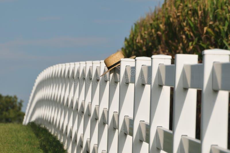 Cappello di paglia di Amish che pone sopra la trave immagine stock libera da diritti