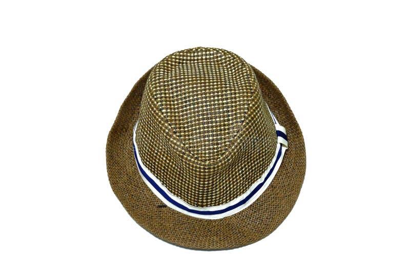 Cappello di paglia di estate di Brown su fondo isolato bianco fotografia stock