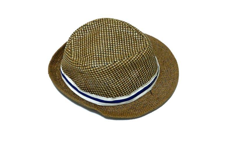 Cappello di paglia di estate di Brown su fondo isolato bianco fotografia stock libera da diritti