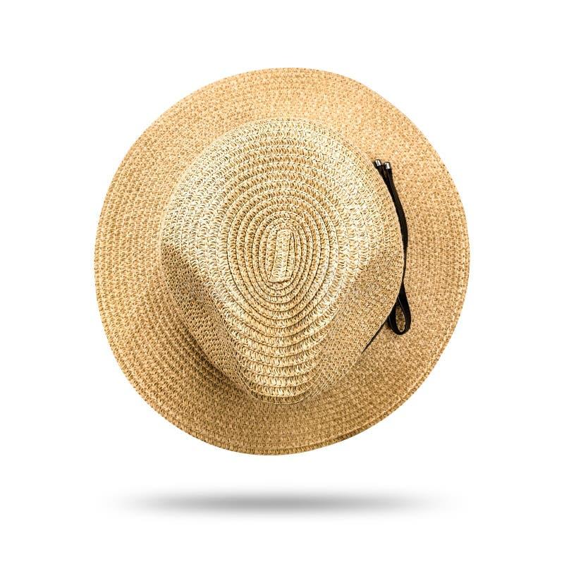 Cappello di paglia isolato su fondo bianco Stile del cappello di Panama con il nastro nero Percorso di ritaglio fotografia stock libera da diritti