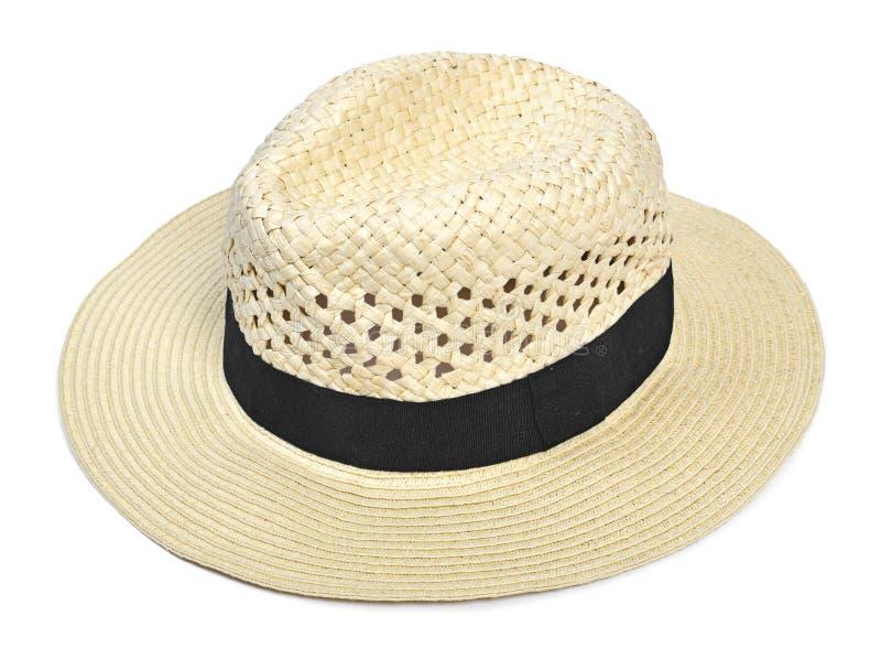 Cappello di Panama, cappello tradizionale di estate con il hatband nero fotografia stock