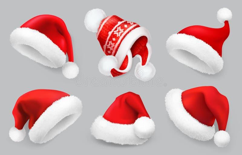 Cappello di Santa Claus Vestiti di inverno Insieme dell'icona di vettore di Natale 3d