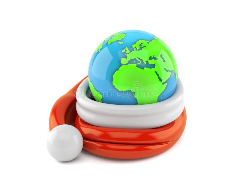Cappello di Santa con il globo illustrazione vettoriale