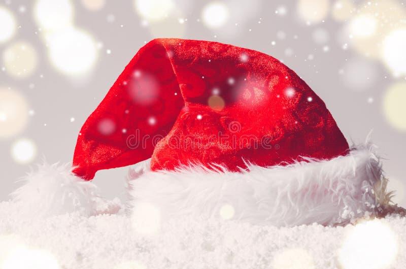 Cappello di Santa di Natale fotografie stock