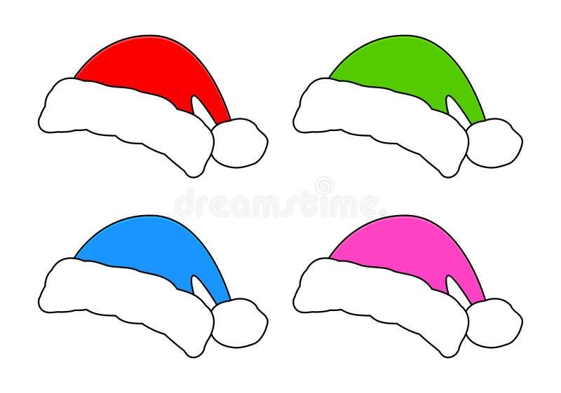 Cappello di Santa, insieme dell'icona del cappuccio di Natale, simbolo, progettazione Illustrazione di vettore di inverno isolata illustrazione vettoriale
