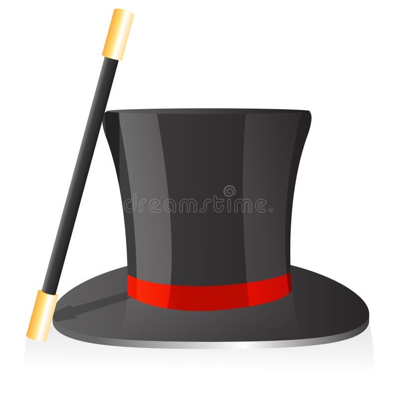 Cappello e bacchetta magici illustrazione vettoriale