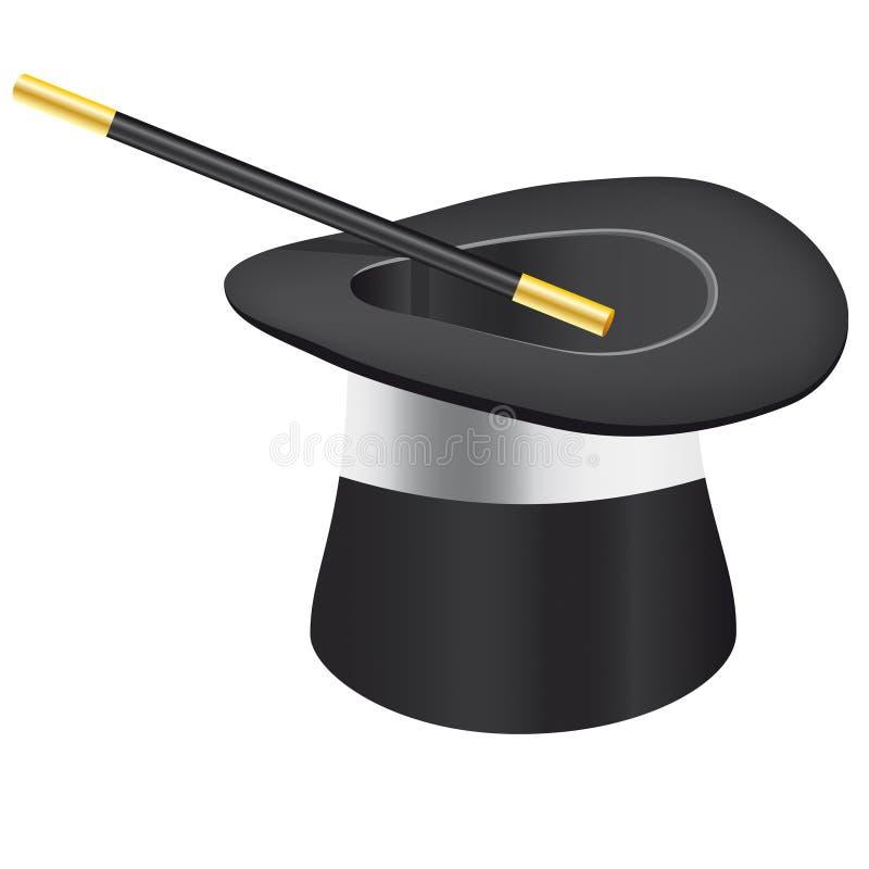 Cappello e bacchetta magici - archivio di vettore aggiunto illustrazione vettoriale