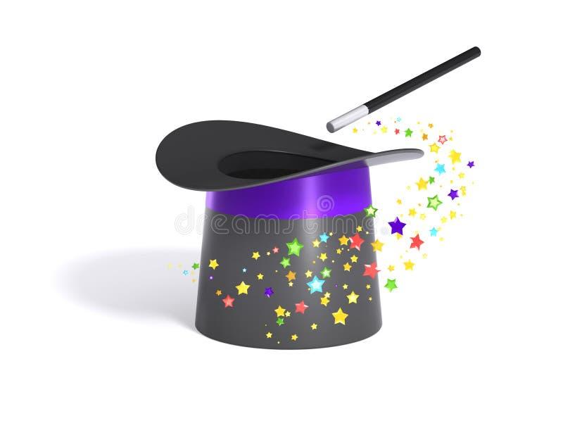 Cappello e bacchetta magici con il percorso di residuo della potatura meccanica royalty illustrazione gratis