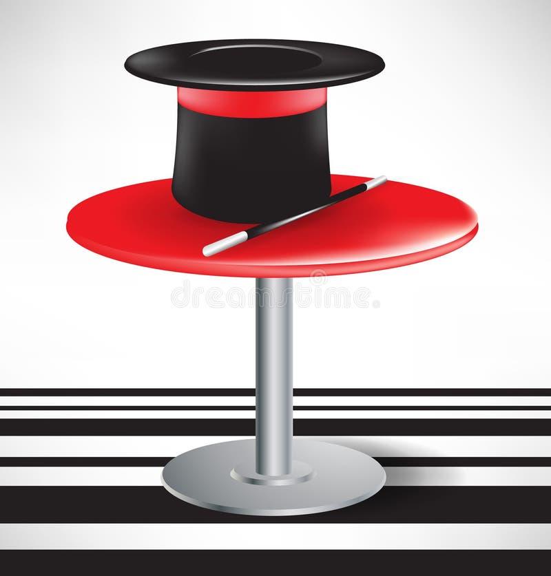 Cappello e bacchetta magici di magia sulla tabella illustrazione vettoriale
