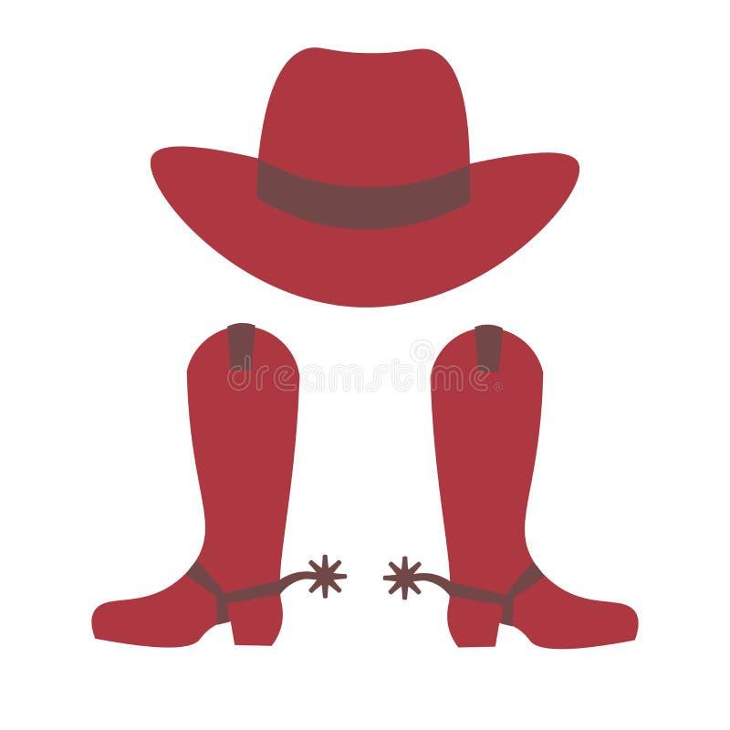 Cappello e caricamenti del sistema del cowboy illustrazione vettoriale