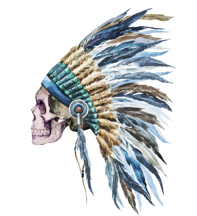 Cappello e cranio indigeni americani illustrazione di stock