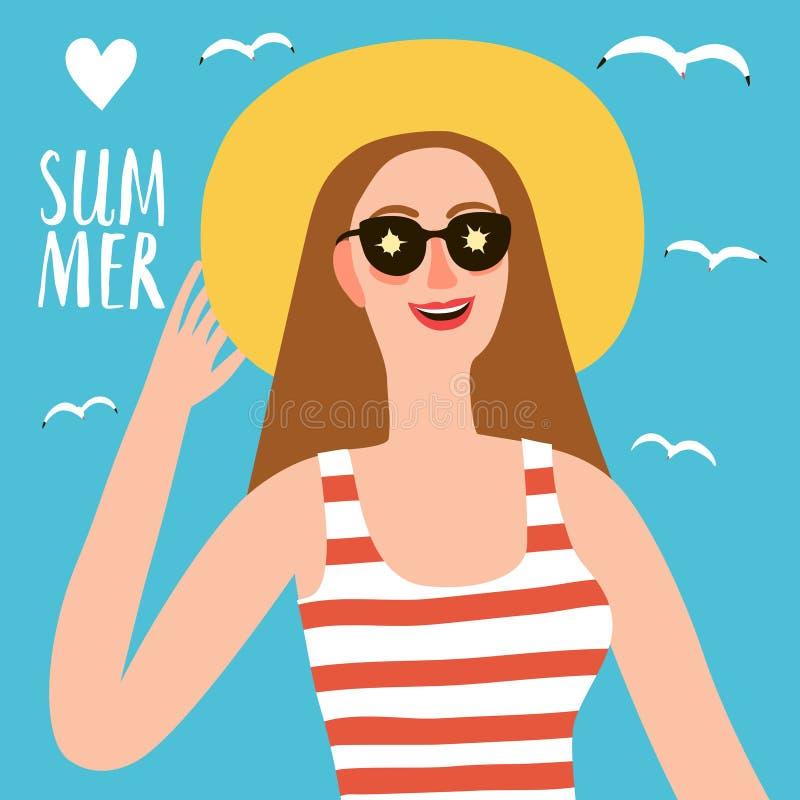 Cappello e vetri d'uso della ragazza di estate del fumetto royalty illustrazione gratis