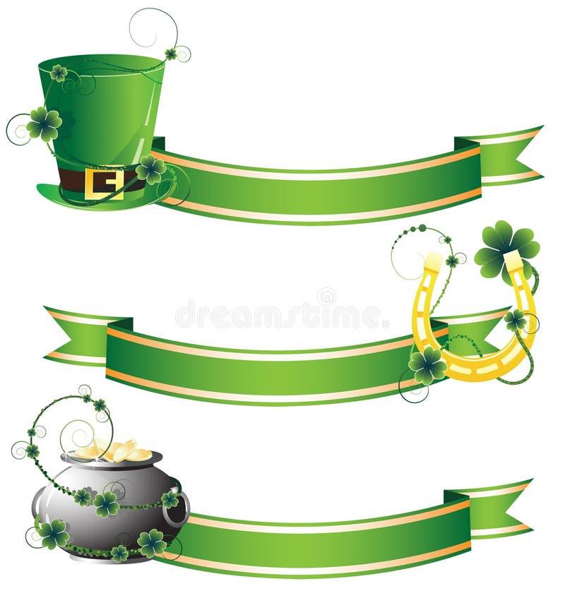 Cappello, ferro di cavallo e POT con oro illustrazione di stock