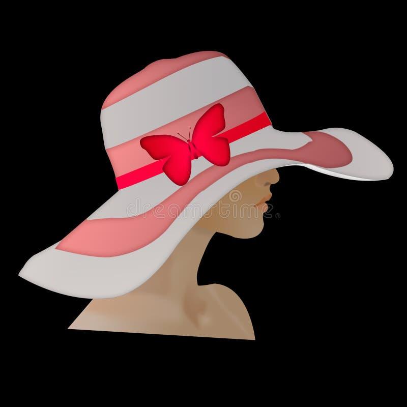 Cappello isolato con l'arco rosso cappello del ` s della donna con una farfalla illustrazione di stock