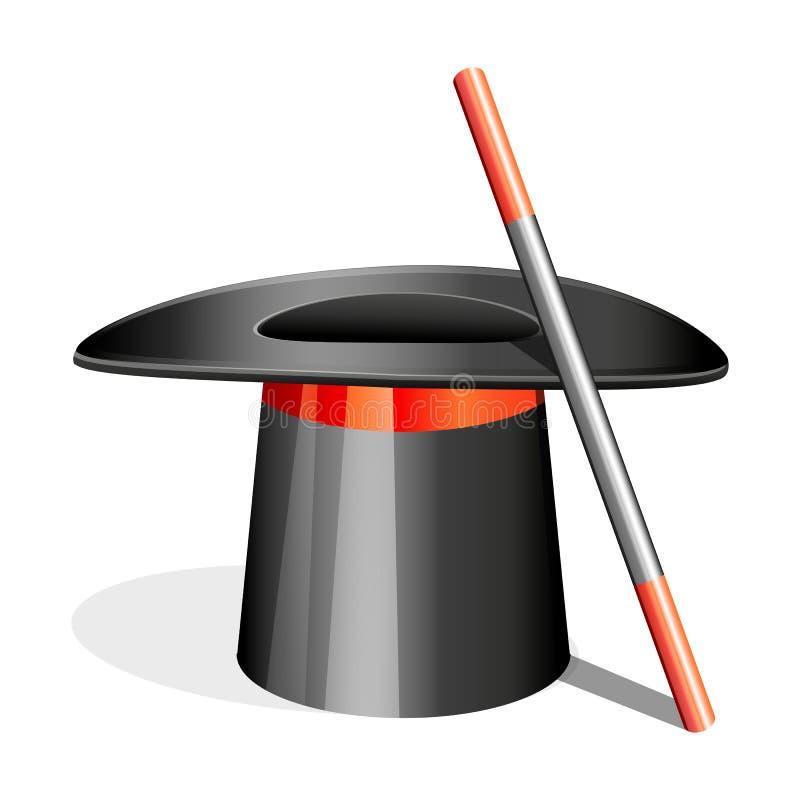 Cappello magico con il bastone illustrazione vettoriale