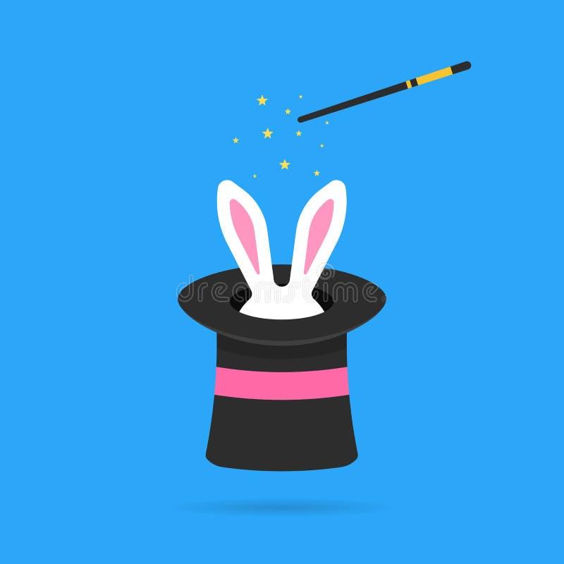 Cappello magico con le orecchie bianche del coniglietto illustrazione di stock