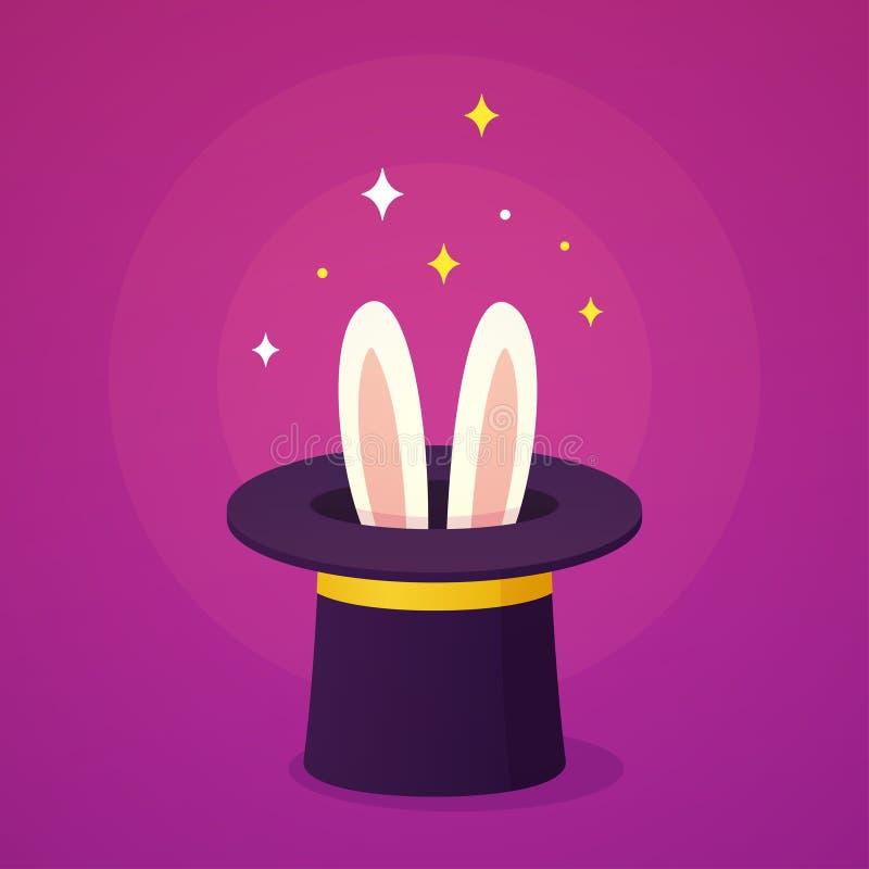 Cappello magico con le orecchie di coniglio illustrazione vettoriale