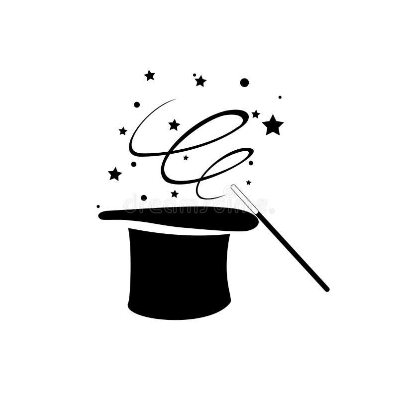 Cappello magico nero con il vettore dell'icona del bastone e delle stelle della bacchetta, logo magico di prestazione, logo dello royalty illustrazione gratis
