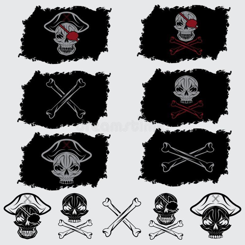 cappello messo sulle bandiere e sulle icone illustrazione di stock