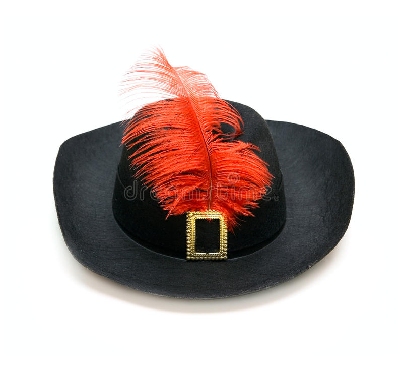Cappello nero con la piuma immagine stock