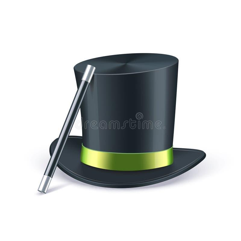 Cappello nero dell'illusionista con il nastro verde ed il bastone magico Illustrazione di vettore illustrazione di stock