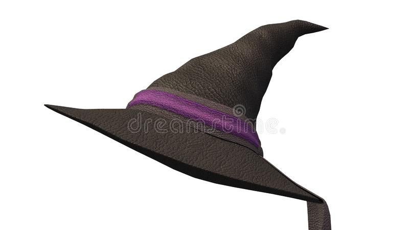 Cappello nero della strega, costume di Halloween isolato su fondo bianco royalty illustrazione gratis