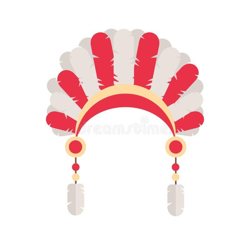 Cappello principale etnico tribale della piuma Tema dell'indiano del nativo americano illustrazione di stock