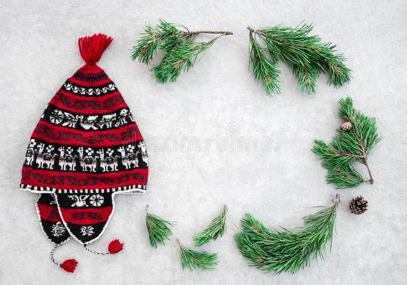 Cappello rosso di inverno e rami verdi del pino fotografia stock libera da diritti