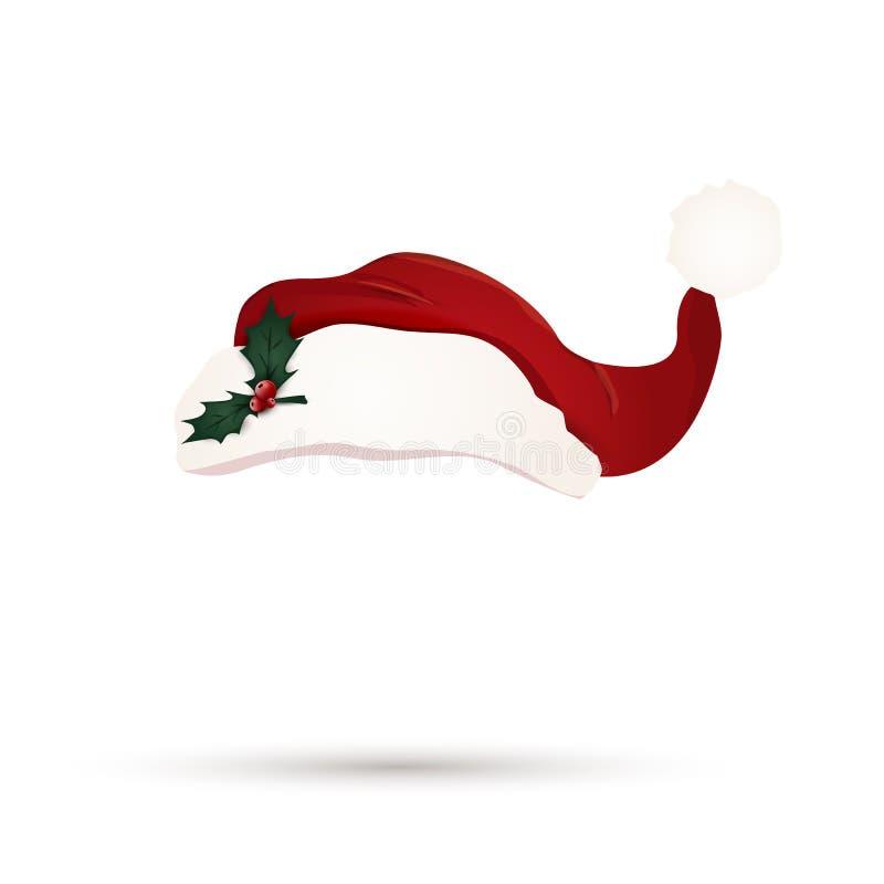 Cappello rosso di Santa con le foglie della bacca dell'agrifoglio isolate Cappello sveglio di Santa del fumetto Cappello di Natal illustrazione vettoriale