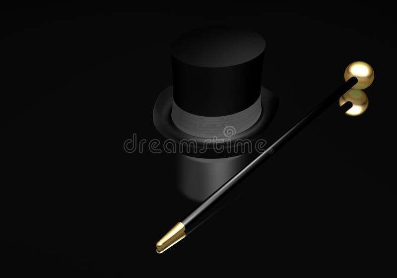 Cappello superiore e canna illustrazione di stock