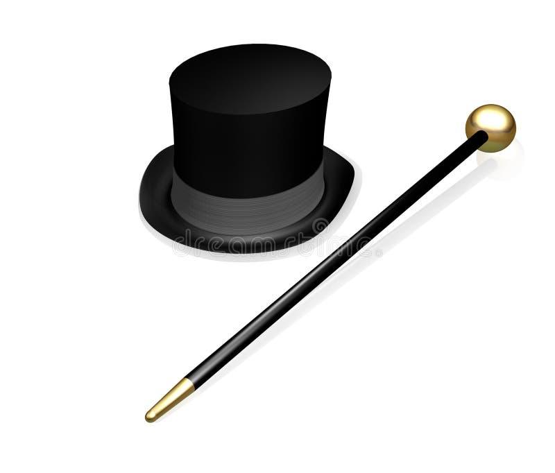 Cappello superiore e canna royalty illustrazione gratis