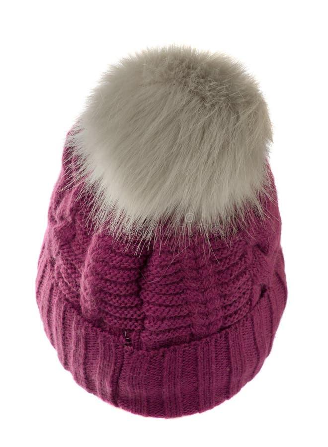 Cappello tricottato s del ` delle donne isolato su fondo bianco cappello con il pompo fotografie stock libere da diritti