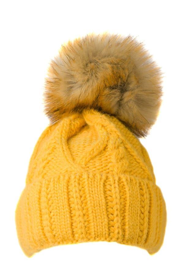 Cappello tricottato s del ` delle donne isolato su fondo bianco cappello con la p immagine stock